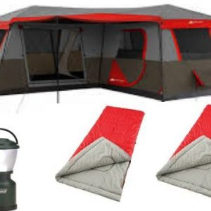 Bundle-of-4-Ozark-Trail-12-Person-3-Room-XL-Stadium-Cabin-TentColeman-4D-LED-Camp-Lanternand-2-Northwest-Territory-3lb-Adult-Sleeping-Bag-0
