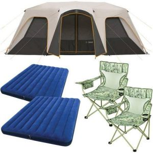 Bushnell-12-Person-Instant-Cabin-Tent-with-2-Bonus-Queen-Airbeds-and-2-Yellow-Chairs-Value-Bundle-0