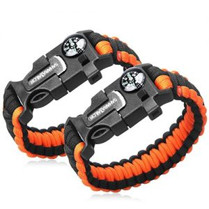 2PCS-PACK-Multifunctional-Paracord-Bracelet-Sahara-Sailor-Outdoor-Survival-Kit-Parachute-Cord-Buckle-W-Compass-Flint-Fire-Starter-Scraper-Whistle-for-Hiking-Camping-Emergency-Orange-Black-0