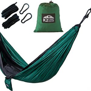 4th-of-July-Sale-OVER-25-OFF-K2-Camp-Gear-Original-Double-Camping-Hammock-Nylon-Compact-Portable-Best-for-Outdoor-Hiking-Travel-Backpacking-Includes-Ropes-and-Carabiners-Lifetime-Warranty-0