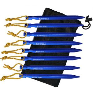 7075-Premium-Aluminum-Tent-Stakes--Ultralight-Y-Beam-Design--Heavy-Duty-Reflective-Pull-Cords--By-Tent-Tools-Blue-8-Stakes-0