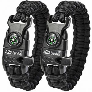A2S-Paracord-Bracelet-K2-Peak-Series-High-Quality-Survival-Gear-Kit-with-Embedded-Compass-Fire-Starter-Emergency-Knife-Whistle-Pack-of-2-Quick-Release-Design-Hiking-Gear-Black-Black-0