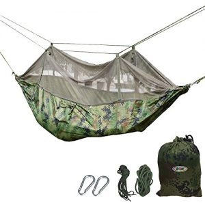 B1ST-Dual-Hammock-with-Mosquito-Bug-Net-Tent-High-Strength-Nylon-Ultralight-Folding-Outdoor-Parachute-Military-Camouflage-Hammock-for-Hiking-Camping-Backpacking-with-Tree-Straps-and-Carabiners-0