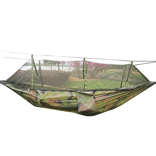 Camping hammock rusee mosquito net outdoor hammock travel for Net hammock bed
