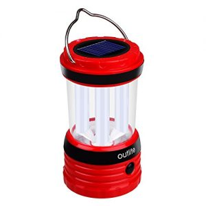 Solar-Power-Outlite-240-Lumen-Solar-Rechargeable-LED-Camping-Lantern-Flashlight-Portable-Water-Resistant-Outdoor-Survival-Lamp-for-Hiking-Fishing-Emergency-Outages-Red-0