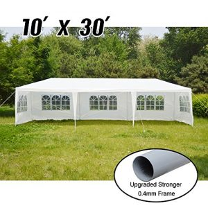 VidaGoods-10x30-White-Canopy-Party-Wedding-Outdoor-Tent-Heavy-duty-Gazebo-Pavilion-Cater-Events-04mm-Thicker-PostStrong-140g-PE-Side-Wall-Temperate-use-ONLY-NOT-for-long-term-Storage-0