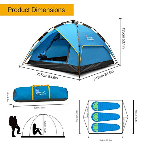 Mountaintop Outdoor 3 4 Person Camping Tent Backpacking Tents With Carry Bag Double Layers Automatic Three Seasons Tents For Camping Green Discounttentsnova