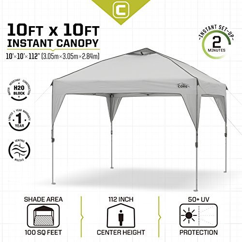 CORE-10-x-10-Instant-Shelter-Canopy-with-  sc 1 st  Discount Tents Nova & CORE 10u2032 x 10u2032 Instant Shelter Canopy with Wheeled Carry Bag Gray ...