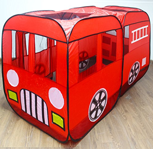 sale retailer 65dcd 60c47 Large Red Fire Truck Pop-Up Play Tent – Fire Engine with Side Door Entrance  for Boys or Girls for Indoor or Outdoor Use By WooHoo Toys