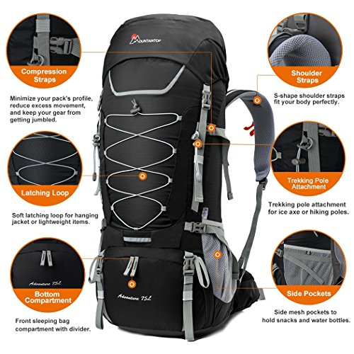 90e0ae2cb1 Mountaintop 75L Outdoor Sport Water-resistant Internal Frame ...