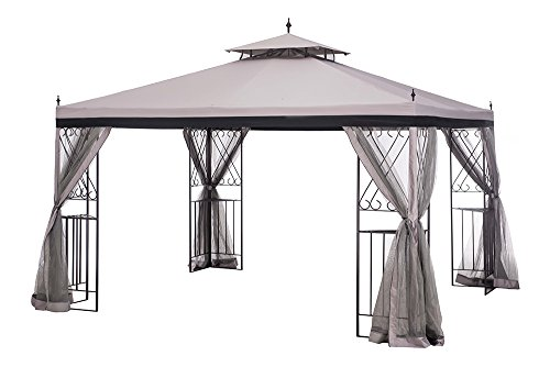 Sunjoy L-GZ288PST-4H Large Parlay Gazebo With Netting, 12