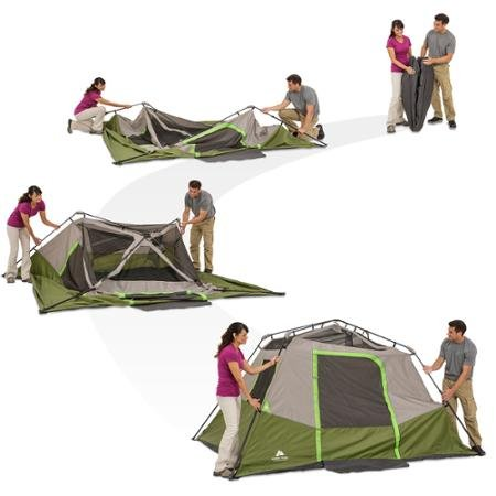Green/Gray Ozark Trail 6 Person Instant No assembly required Cabin Tent