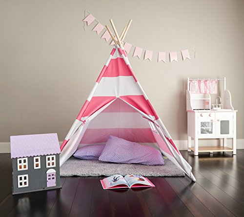 Kids Teepee Deluxe Canvas Teepee Tent With Window
