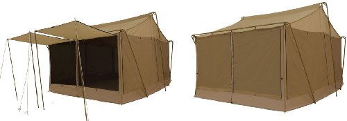 reputable site 4d3a9 77143 Trek Tents 283A Cotton Cavas Cabin 10′ x 14′ Floorless Tent w/ 4 Awnings