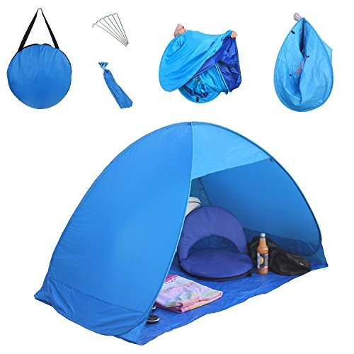 best website f1c49 15ec0 LingAo Automatic Pop Up Instant Portable Outdoors Quick Cabana Beach Tent  Sun Shelter , Blue